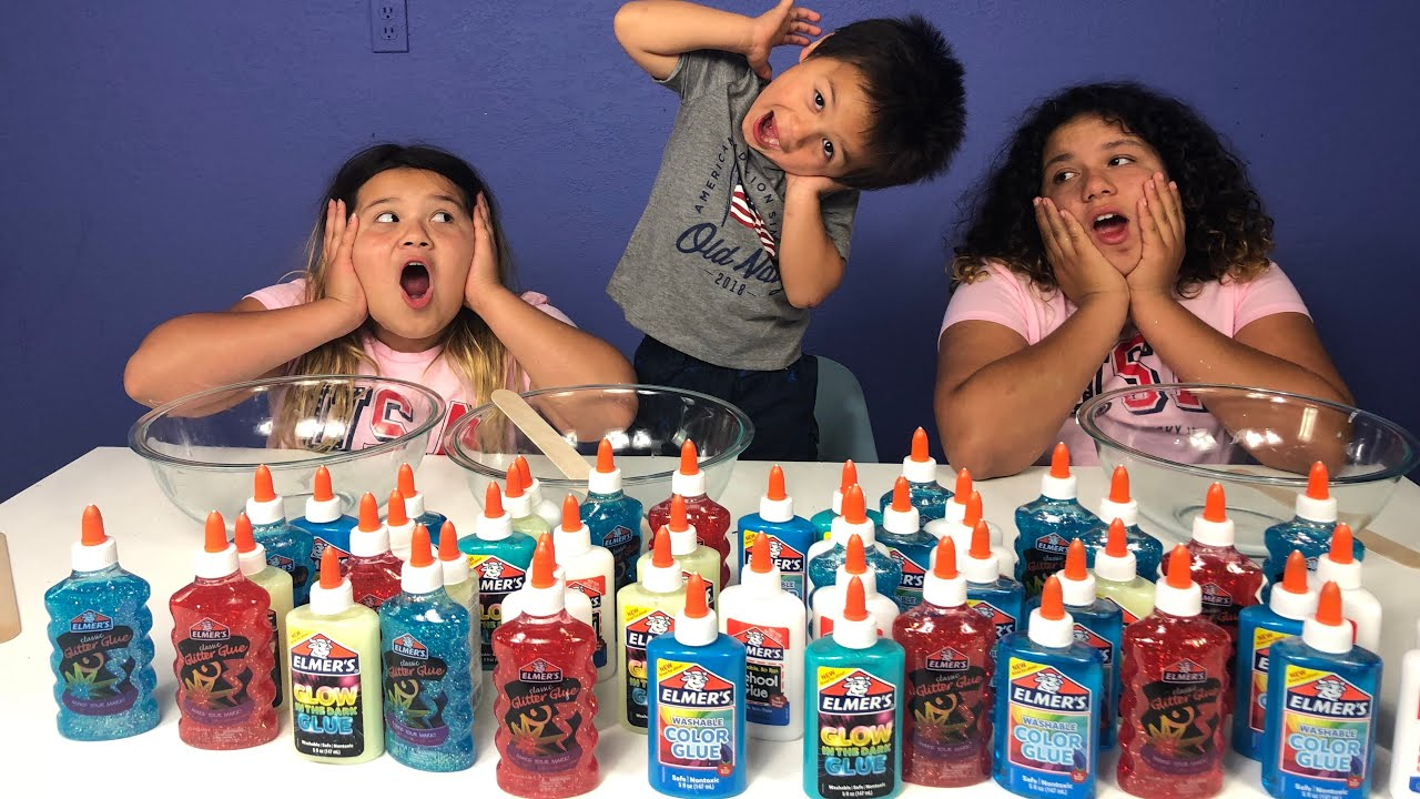 Slime Mary Izzy: 3 COLORS OF GLUE SLIME CHALLENGE WITH OUR BABY BROTHER 4TH