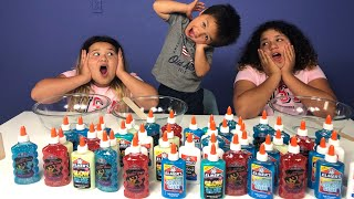 3 COLORS OF GLUE SLIME CHALLENGE WITH OUR BABY BROTHER 4TH JULY EDITION