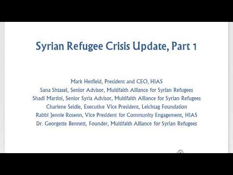 Syrian Refugee Crisis Update, Part 1 (Webinar)