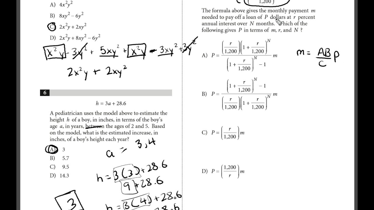 Collegeboard SAT Practice Test 1 MATH Section 3 Q: 5-7