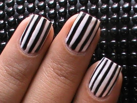 Nail Art Diy Black And White Nail Designs Striped By