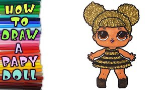 lol surprise! How to draw a baby dolls Queen Bee. learn to draw, drawing lessons, coloring pages