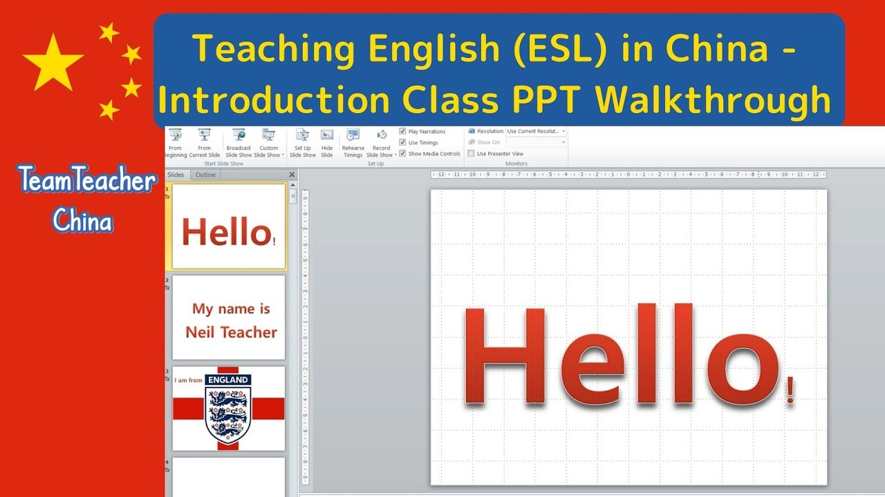 Introduction Lesson Powerpoint (PPT) Walkthrough for First Class - Teaching  English (ESL) in China