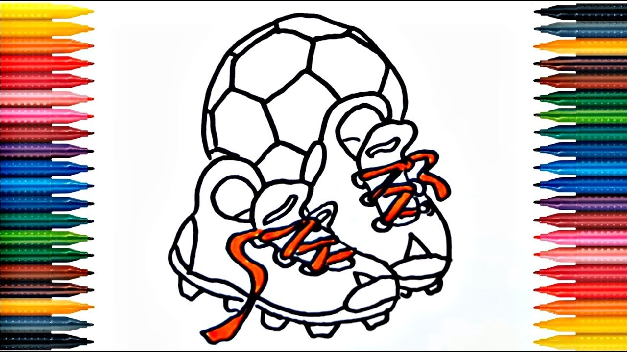 Drawing for Kids |Soccer shoes,Football Ball And Many | Picture ...