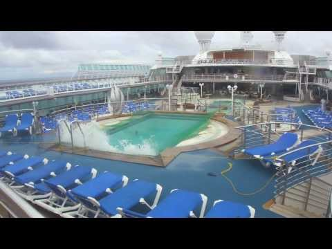 Sea Princess - Rough weather caused the pool to overflow and the decks empty