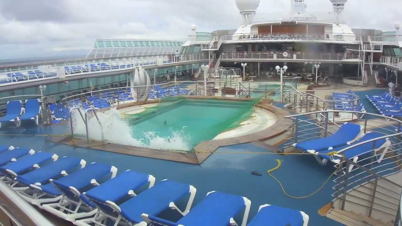 Sea Princess - Rough weather caused the pool to overflow ... Oasis Of The Seas Comparison