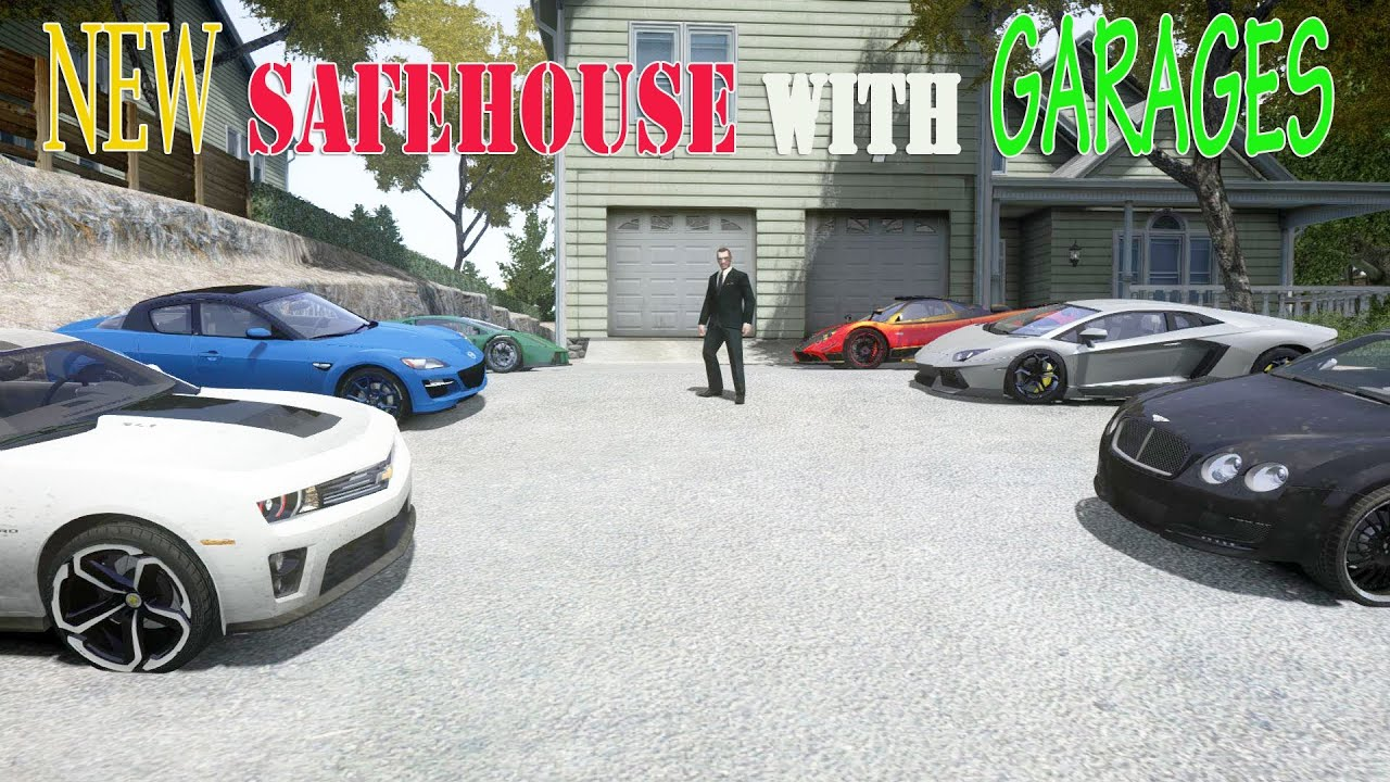 Gta 4: Westdyke Safehouse With Garages For 8 Cars  House Mod