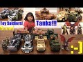 Toy Soldiers! Military Toy Tanks, Assault Vehicles, Missile Launchers, Trucks and More! Godzilla!