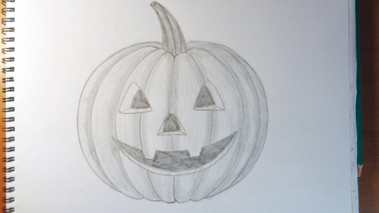 How to draw a pumpkin como dibujar una calabaza halloween - Hacer calabaza halloween ...
