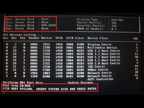 DISK BOOT FAILURE, INSERT SYSTEM DISK AND PRESS ENTER - YouTube