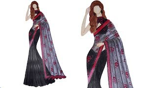 Fashion illustration: black saree design
