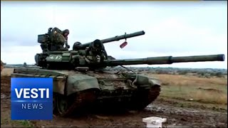 Russian Tanks Practice Diving at a Testing Ground Near Volgograd
