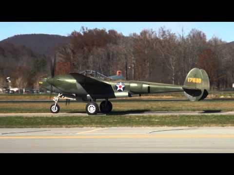 P-38 'Glacier Girl' + TNMA P-47s Flight Demo @ Middlesboro, KY 11-15-2012