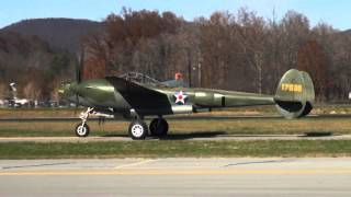 P-38 'Glacier Girl' + TNMA P-47s Flight Demo @ Middlesboro, KY 11-15-2012