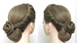 Easy Elegant Bun Hairstyle For Long Hair Tutorial. Bridal Updo