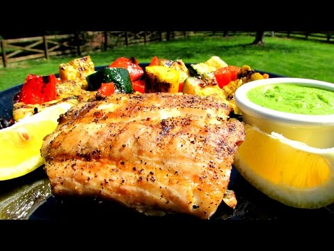 Grilled Rockfish With Lemon Basil Pesto - Striped Bass Recipe