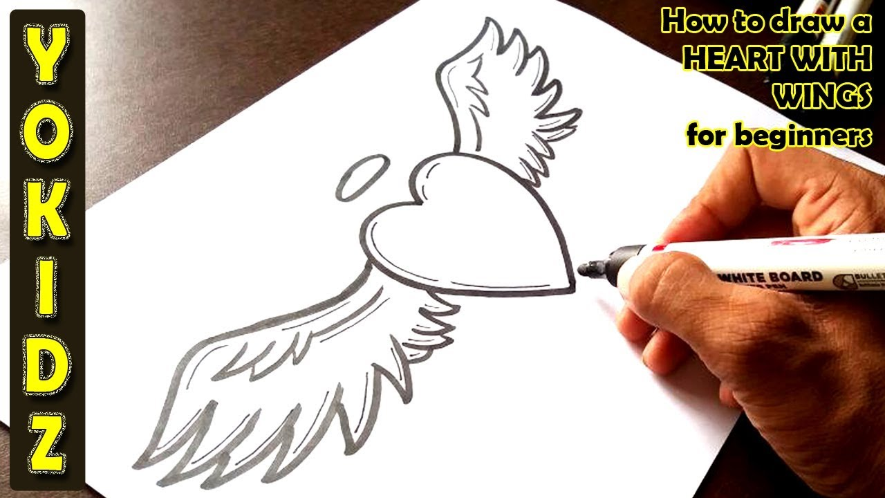 How To Draw A Heart With Wings For Beginners Youtube