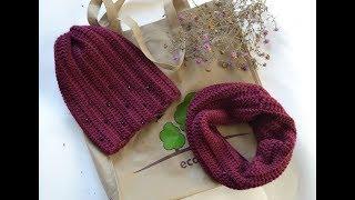 """""""Простой снуд из толстой пряжи крючком для начинающих"""" (Snood (scarf) crochet for beginners)"""