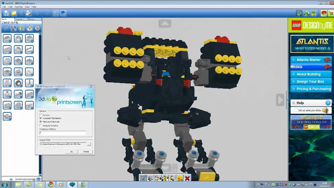 Import lego digital designer model into 3ds max part 1 3 for Lego digital designer templates