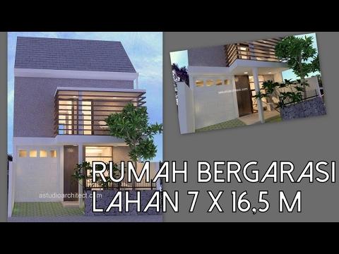 A Rumah Bergarasi Di Lahan 7 X 16 5 M2 Desain Siap Pakai Kode 023