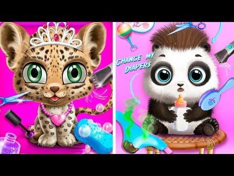 Прическа и наряды для кошечки в салоне красоты в игре Baby Animal Hair Salon