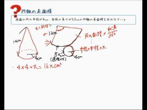 円錐の体積、表面積の求め方