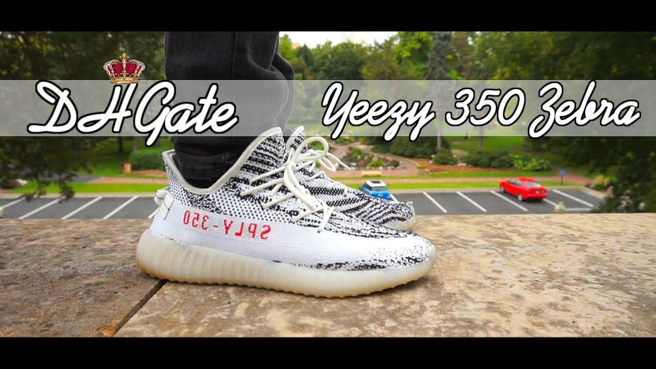 DHGate Fake Zebra 350 V2 Yeezys On Feet Review| Outfit Ideas| How To Wear Zebra  Yeezy V2's