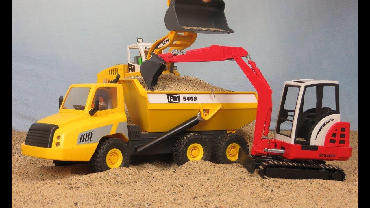 Playmobil pelleteuse camion de chantier tractopelle avec - Playmobil camion chantier ...