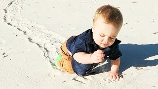 BABY DISCOVERS SAND!!