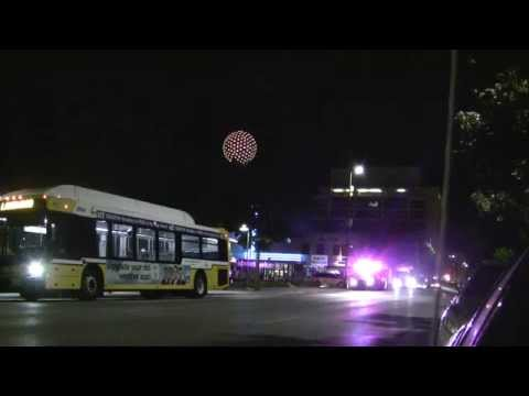 DART Bus And Emergency Vehicle At Bus Station Dallas Texas