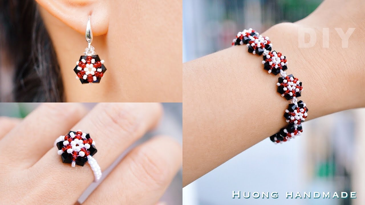 DIY beaded jewelry set. Jewelry making at home easy. Bracelet, earring, and ring