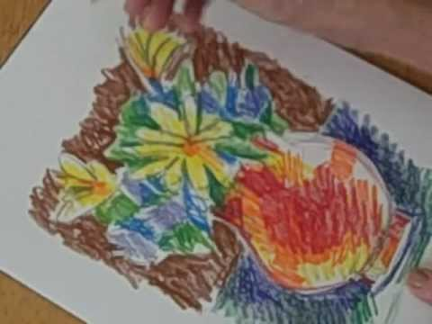 Draw A Vase Of Flowers With Colored Pencil Youtube