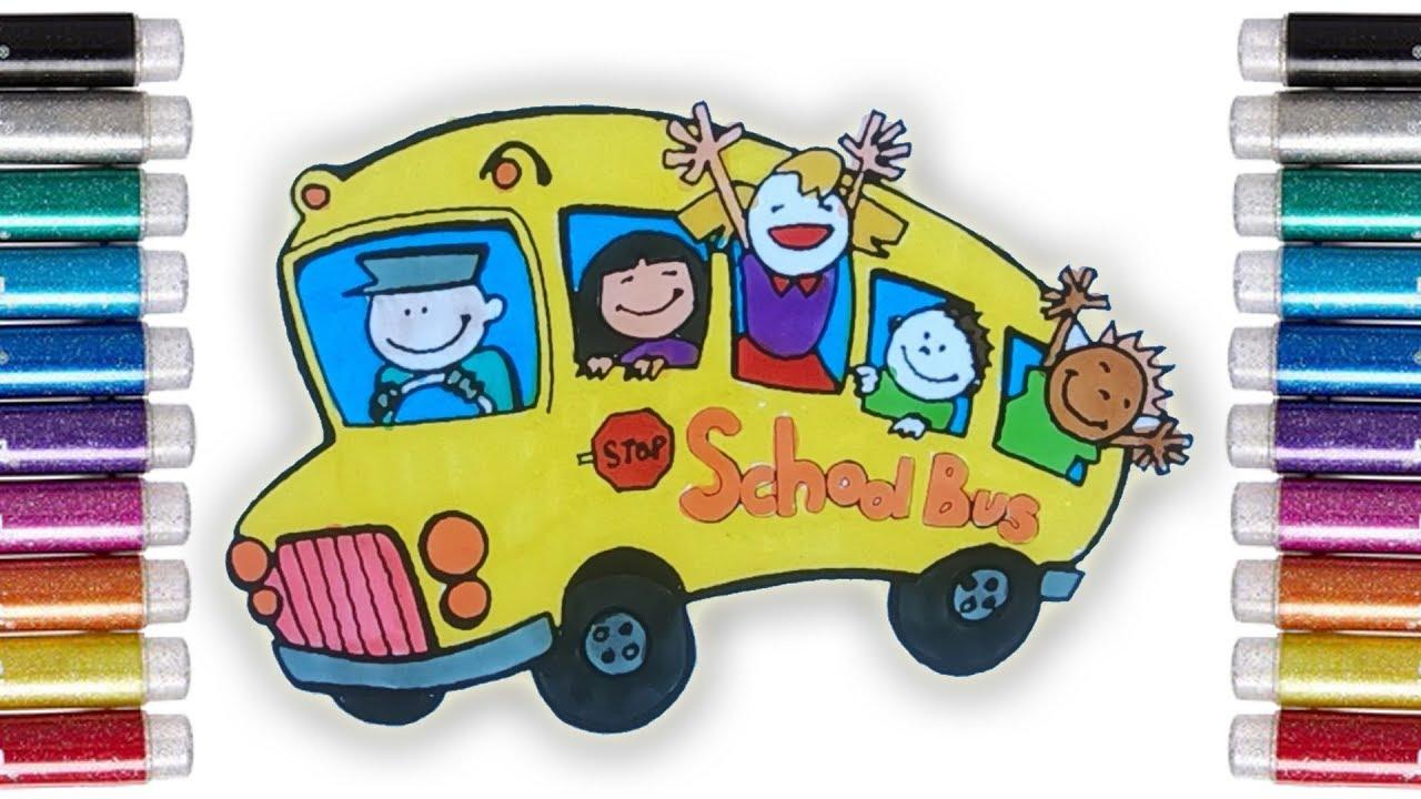 Coloring Vehicles Mewarnai Bus Sekolah Dengan Spidol Untuk Anak