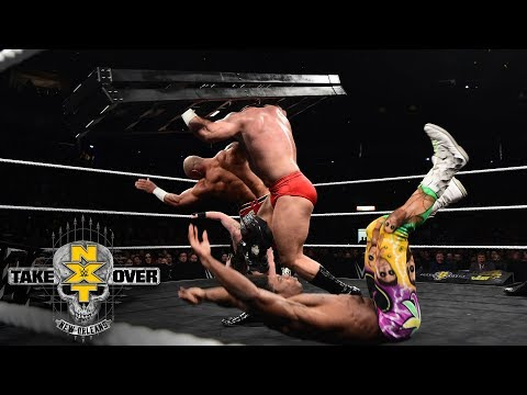 Lars Sullivan wipes out an entire ring full of Superstars: NXT TakeOver: New Orleans (WWE Network)
