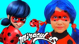 Miraculous Ladybug makeup and costume Julia pretend play with doll