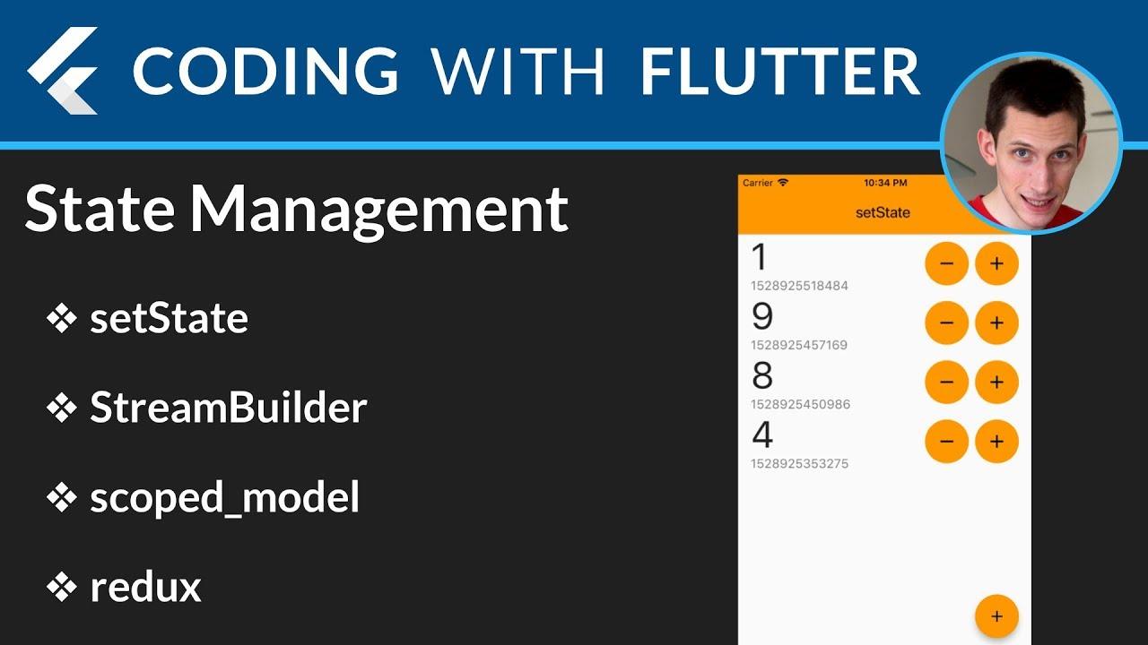 Flutter State Management: setState, StreamBuilder, Scoped Model, Redux