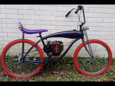 purple tiger 4 stroke motorized bicycle with in frame gas tank - Motorized Bike Frame