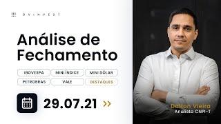 Análise - IBOV, WINQ21, WDOQ21, PETR4, VALE3, EMBR3, MOVI3 e PCAR3 | 29.07.21 #dvfechamento