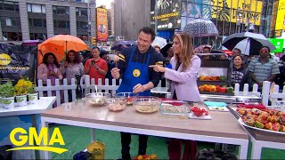 Chef Rocco Dispirito demos how to make curried skewers and no-bake cookies
