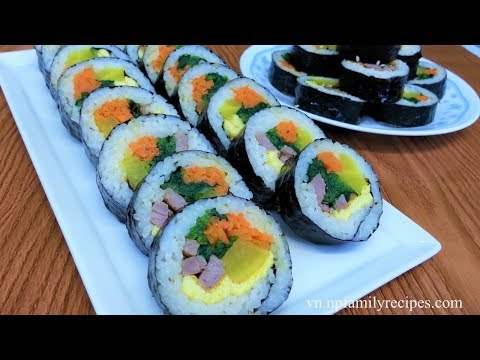 Cách Làm Cơm Cuộn Rong Biển Hàn Quốc (kimbap/gimbap) - NPFamily Recipes Tiếng Việt