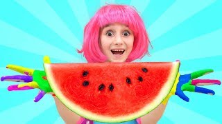 Fatima Paints with Toys and Watermelon & sing Wash your Hands Nursery Rhymes Kid Song