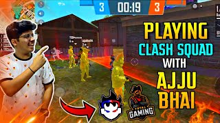 FREE FIRE || TSG PLAYING CLASH SQUAD WITH AJJU BHAI || UNBELIEVABLE GAME || LIVE REACTION