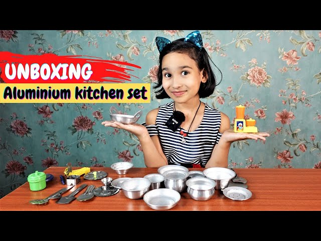 Aluminum Utensils Kitchen Set Unboxing | Cooking set unboxing in hindi #LearnWithPari