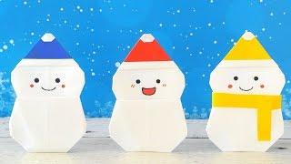 折り紙 1枚で帽子付き雪だるま [Origami]Snowman with Santa hat(using only 1 paper)