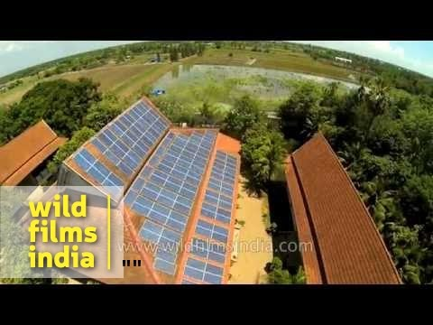 Solar panel installation on monastery building roof-top in Asia