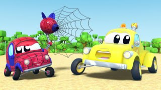 Tom the Tow Truck -  BABY CAR wants to be SPIDERMAN - Car Cartoon for Children in Car City