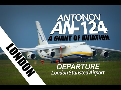 Antonov An-124 Giant Cargo Plane London Stansted Airport Ruslan Planes [4K]