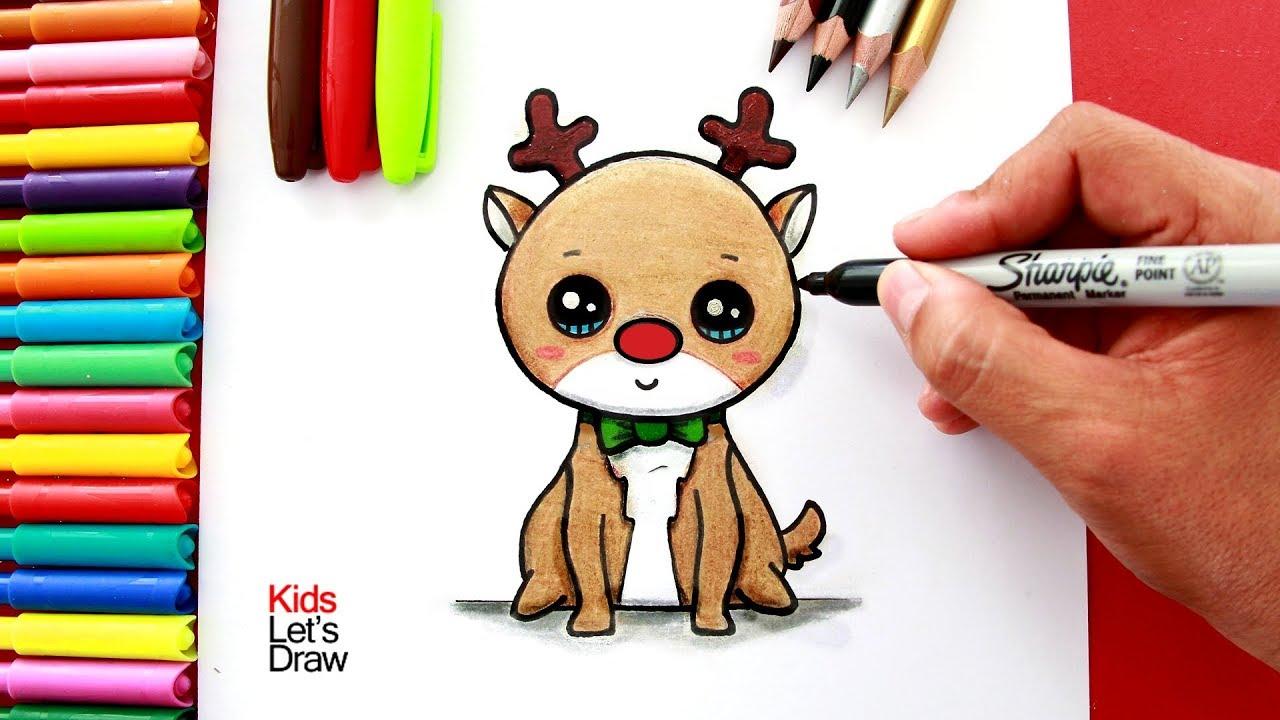 Aprende A Dibujar Y Pintar Un Reno Navideno Kawaii De Nariz Roja Y
