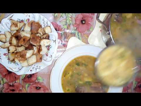 Гороховый суп с копченостями и гренками - вкуснее не бывает!