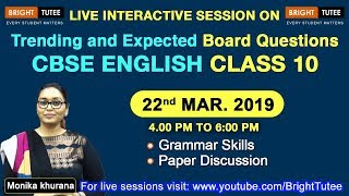 Live Session on Class 10 English Grammar Skills & Paper Discussion Tips and Tricks by Monika Khurana